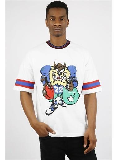 XHAN Beyaz Baskılı Oversize T-Shirt 1Yxe1-44917-01 Beyaz